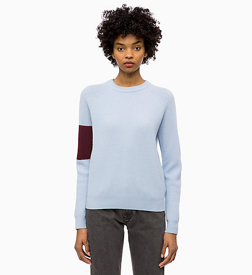 CALVIN KLEIN JEANS Wool Colour Block Jumper - CHAMBRAY BLUE / TAWNY PORT - CALVIN KLEIN JEANS NEW IN - main image