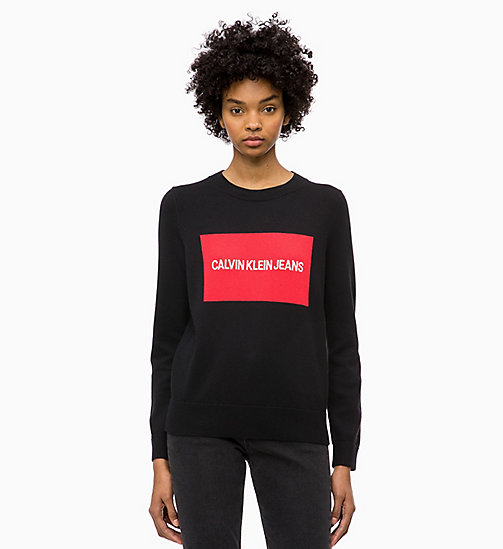 CALVIN KLEIN JEANS Cotton Wool Logo Jumper - CK BLACK / TOMATO - CALVIN KLEIN JEANS NEW IN - main image