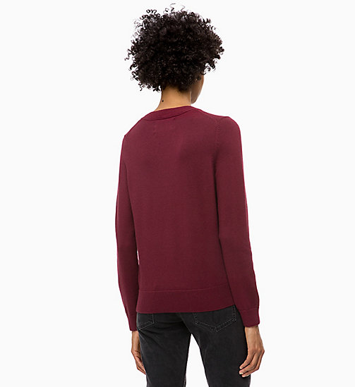 CALVIN KLEIN JEANS Cotton Wool Logo Jumper - TAWNY PORT / SKY BLUE - CALVIN KLEIN JEANS NEW IN - detail image 1