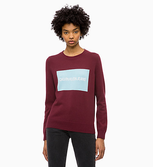 CALVIN KLEIN JEANS Cotton Wool Logo Jumper - TAWNY PORT / SKY BLUE - CALVIN KLEIN JEANS NEW IN - main image