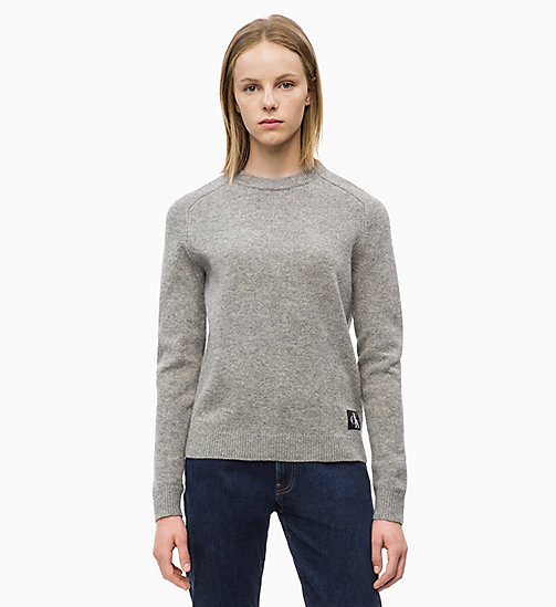 CALVIN KLEIN JEANS Shetland wollen trui - GREY HEATHER - CALVIN KLEIN JEANS IN THE THICK OF IT FOR HER - main image