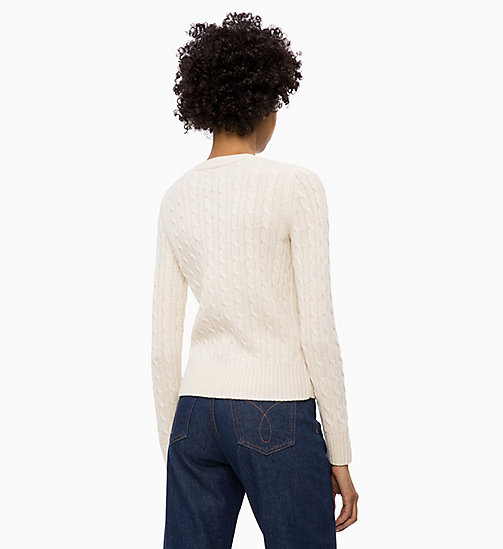 CALVIN KLEIN JEANS Maglione a trama grossa in misto lana di agnello - EGRET - CALVIN KLEIN JEANS IN THE THICK OF IT FOR HER - dettaglio immagine 1