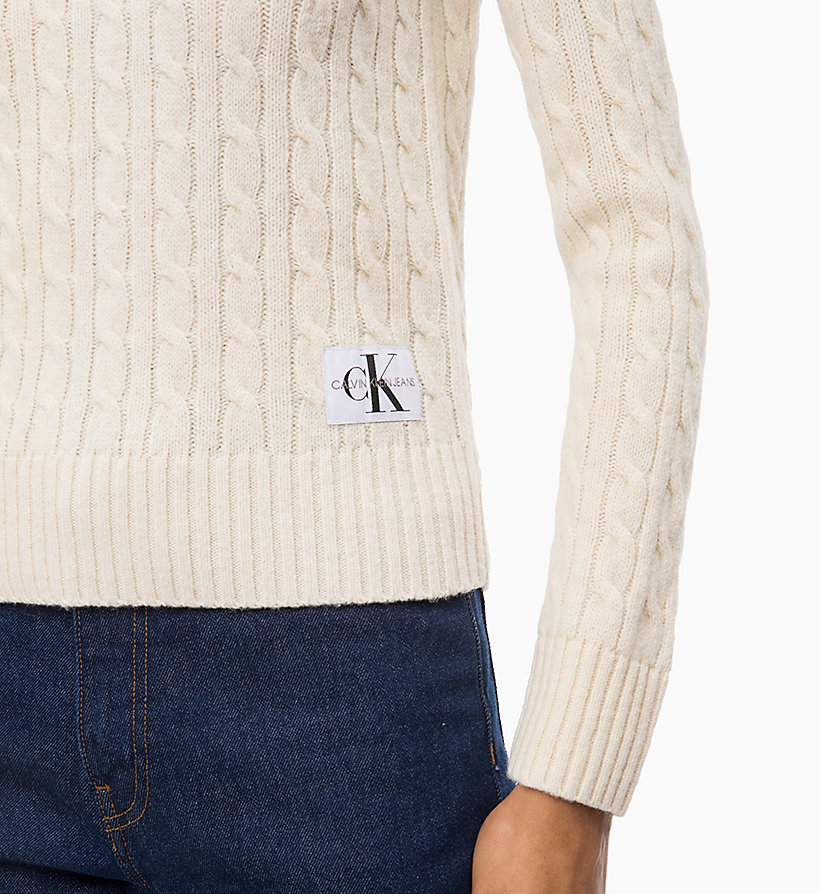 CALVIN KLEIN JEANS Lambswool Blend Cable Jumper - CK BLACK - CALVIN KLEIN JEANS WOMEN - detail image 2