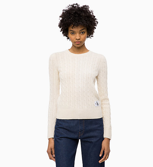 CALVIN KLEIN JEANS Lambswool Blend Cable Jumper - EGRET - CALVIN KLEIN JEANS IN THE THICK OF IT FOR HER - main image