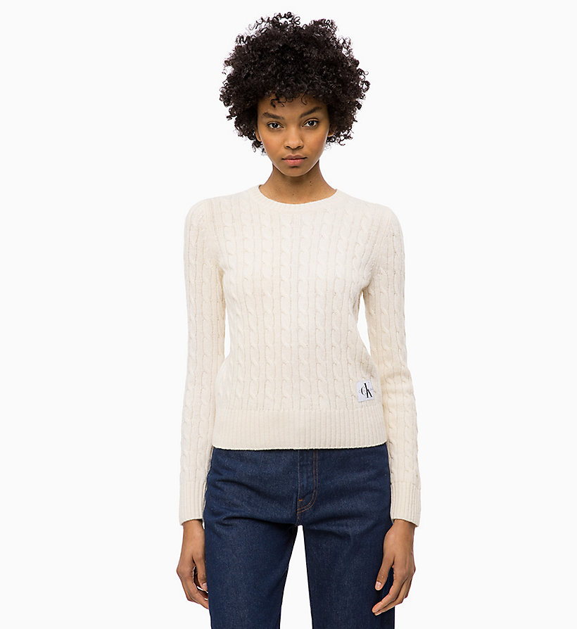 CALVIN KLEIN JEANS Lambswool Blend Cable Jumper - CK BLACK - CALVIN KLEIN JEANS WOMEN - main image