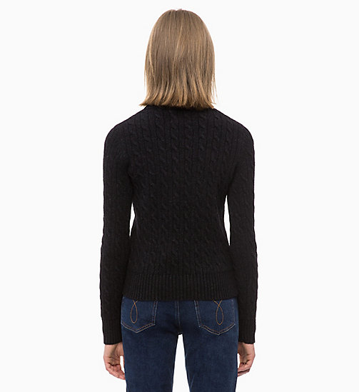CALVIN KLEIN JEANS Lambswool Blend Cable Jumper - CK BLACK - CALVIN KLEIN JEANS NEW IN - detail image 1