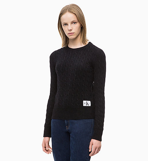 CALVIN KLEIN JEANS Lambswool Blend Cable Jumper - CK BLACK - CALVIN KLEIN JEANS NEW IN - main image
