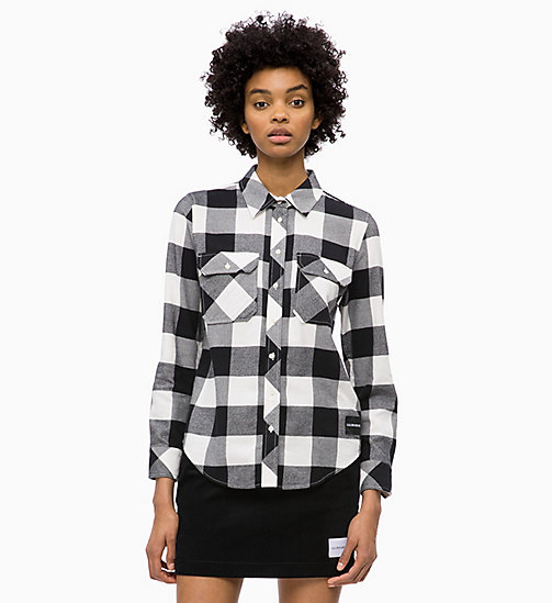 CALVIN KLEIN JEANS Flannel Check Shirt - CK BLACK /  EGRET - CALVIN KLEIN JEANS The New Off-Duty - main image