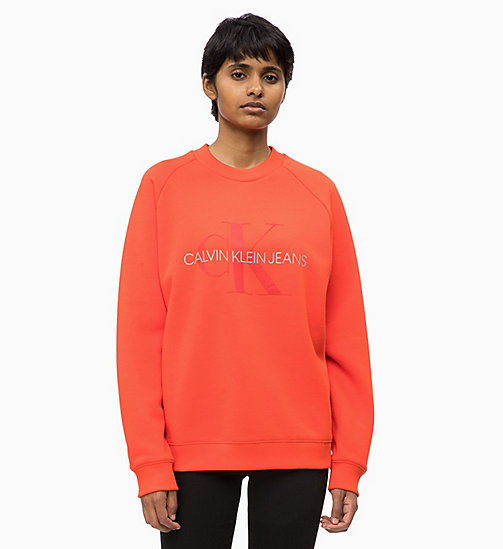 CALVIN KLEIN JEANS Embossed Logo Sweatshirt - PUMPKIN RED -  CLOTHES - main image