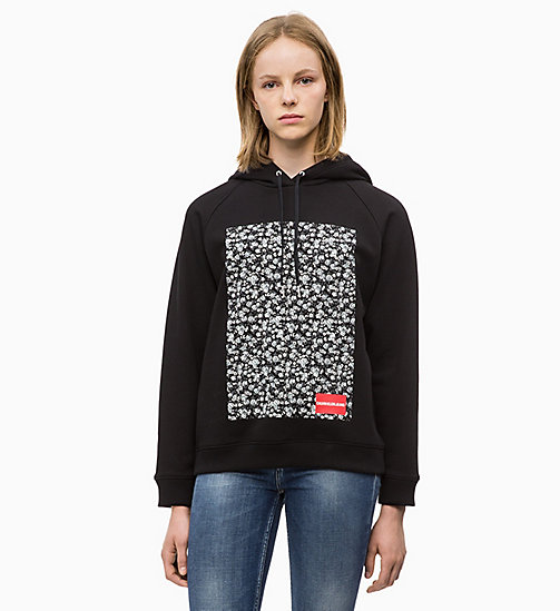 CALVIN KLEIN JEANS Gebloemde hoodie met print - CK BLACK - CALVIN KLEIN JEANS IN THE THICK OF IT FOR HER - main image