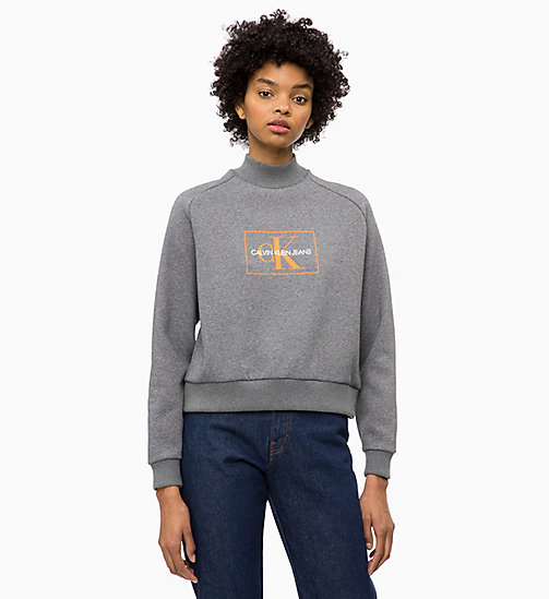 CALVIN KLEIN JEANS Felpa con logo - MID GREY HEATHER - CALVIN KLEIN JEANS IN THE THICK OF IT FOR HER - immagine principale