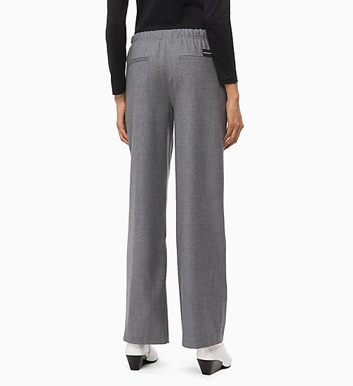 CALVIN KLEIN JEANS Wool Straight Trousers - MID GREY HEATHER - CALVIN KLEIN JEANS IN THE THICK OF IT FOR HER - detail image 1