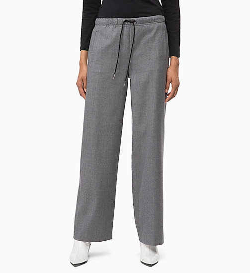 CALVIN KLEIN JEANS Wool Straight Trousers - MID GREY HEATHER - CALVIN KLEIN JEANS IN THE THICK OF IT FOR HER - main image