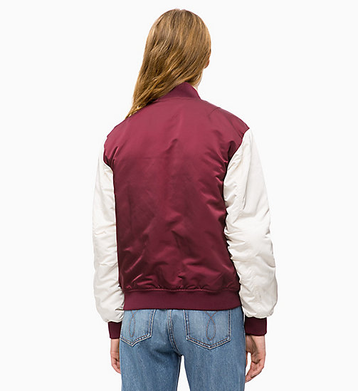 CALVIN KLEIN JEANS Padded Varsity Bomber Jacket - TAWNY PORT / EGRET - CALVIN KLEIN JEANS The New Off-Duty - detail image 1