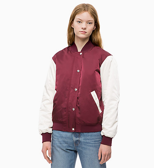 CALVIN KLEIN JEANS Padded Varsity Bomber Jacket - TAWNY PORT / EGRET - CALVIN KLEIN JEANS The New Off-Duty - main image