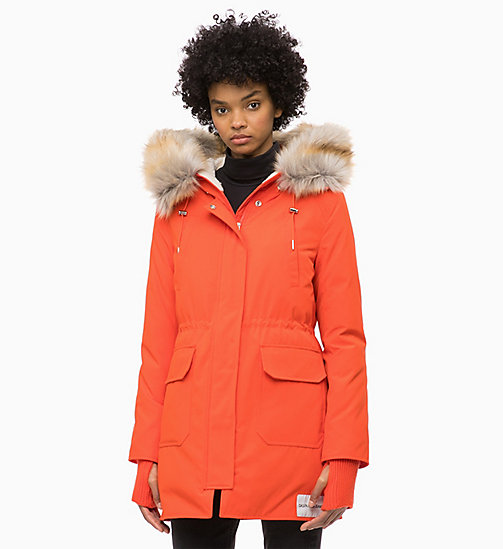 CALVIN KLEIN JEANS Down Parka Jacket - PUMPKIN RED - CALVIN KLEIN JEANS NEW IN - main image