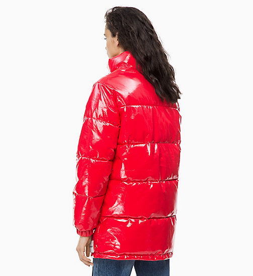CALVIN KLEIN JEANS Vinyl Puffer Jacket - TOMATO - CALVIN KLEIN JEANS IN THE THICK OF IT FOR HER - detail image 1