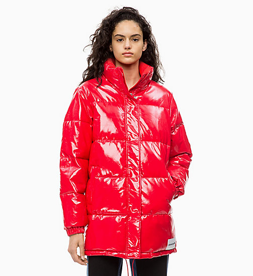 CALVIN KLEIN JEANS Vinyl Puffer Jacket - TOMATO - CALVIN KLEIN JEANS IN THE THICK OF IT FOR HER - main image