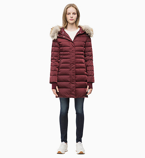 CALVIN KLEIN JEANS Quilted Down Parka Jacket - TAWNY PORT - CALVIN KLEIN JEANS COATS - detail image 1