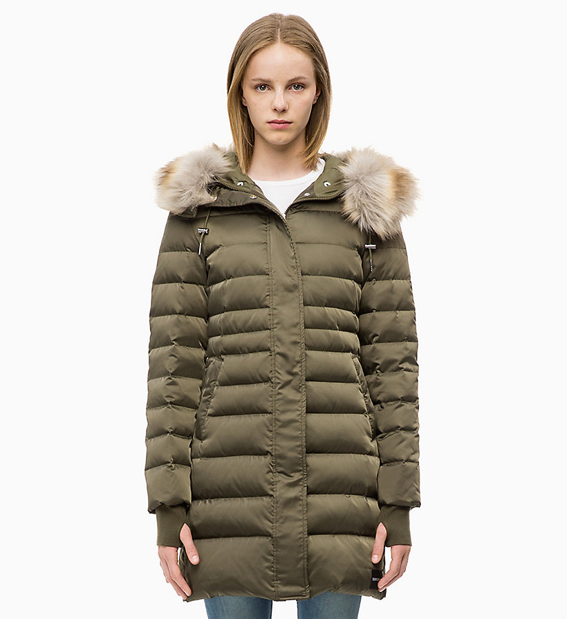 CALVIN KLEIN JEANS Quilted Down Parka Jacket - TAWNY PORT - CALVIN KLEIN JEANS WOMEN - main image