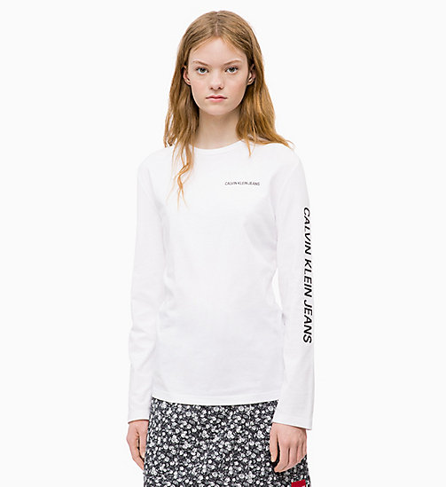 CALVIN KLEIN JEANS Long Sleeve Logo T-shirt - BRIGHT WHITE - CALVIN KLEIN JEANS The New Off-Duty - main image