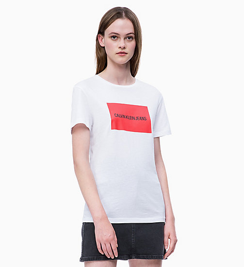 CALVIN KLEIN JEANS Organic Cotton Slim Logo T-shirt - BRIGHT WHITE/ RACING RED - CALVIN KLEIN JEANS LOGO SHOP - main image