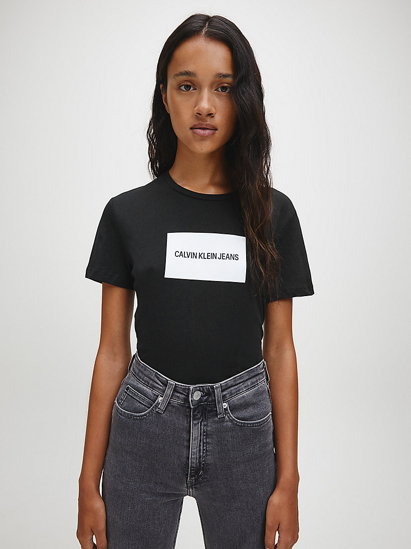 CALVIN KLEIN JEANS Organic Cotton Slim Logo T-shirt - BRIGHT WHITE/ RACING RED - CALVIN KLEIN JEANS WOMEN - main image