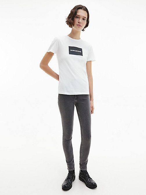 CALVIN KLEIN JEANS Organic Cotton Slim Logo T-shirt - BRIGHT WHITE / CK BLACK - CALVIN KLEIN JEANS NEW IN - detail image 1
