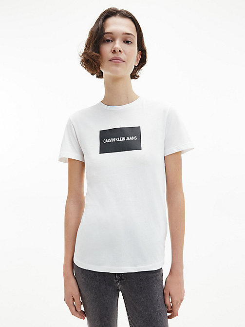 CALVIN KLEIN JEANS Organic Cotton Slim Logo T-shirt - BRIGHT WHITE / CK BLACK - CALVIN KLEIN JEANS NEW IN - main image