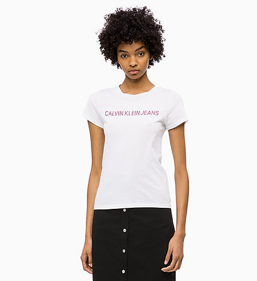 CALVIN KLEIN JEANS Slim Logo T-shirt - WHITE/FLOWER TAWNYPORT - CALVIN KLEIN JEANS CLOTHES - main image