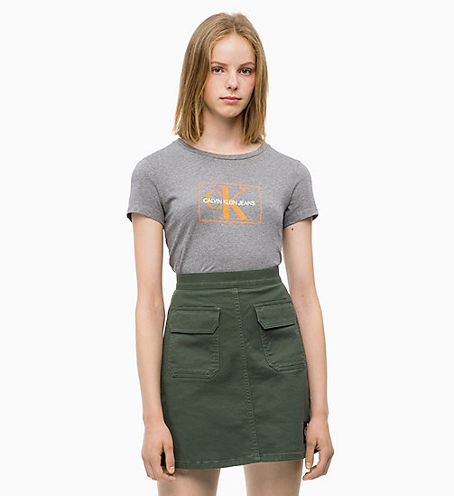 CALVIN KLEIN JEANS Slim T-shirt met logo - MID GREY HEATHER -  NIEUWE ICONEN - main image