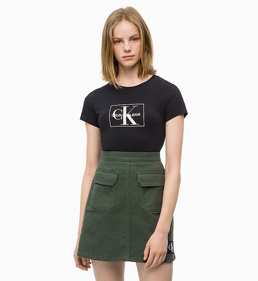 CALVIN KLEIN JEANS Slim Logo T-shirt - BRIGHT WHITE / RACING RED - CALVIN KLEIN JEANS WOMEN - main image