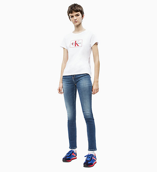CALVIN KLEIN JEANS Slim Logo T-shirt - BRIGHT WHITE/ RACING RED - CALVIN KLEIN JEANS NEW IN - detail image 1