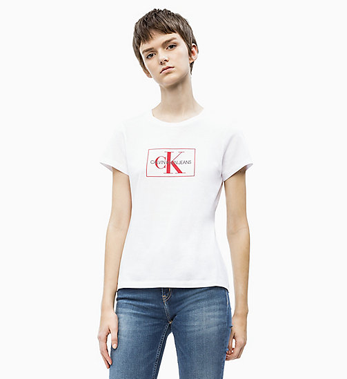 CALVIN KLEIN JEANS Slim Fit Logo-T-Shirt - BRIGHT WHITE/ RACING RED - CALVIN KLEIN JEANS NEW IN - main image