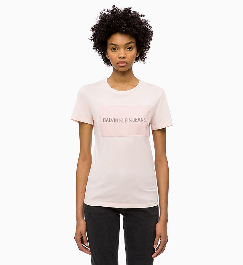CALVIN KLEIN JEANS T-shirt met logo-applicatie - BRIGHT WHITE - CALVIN KLEIN JEANS DAMES - main image