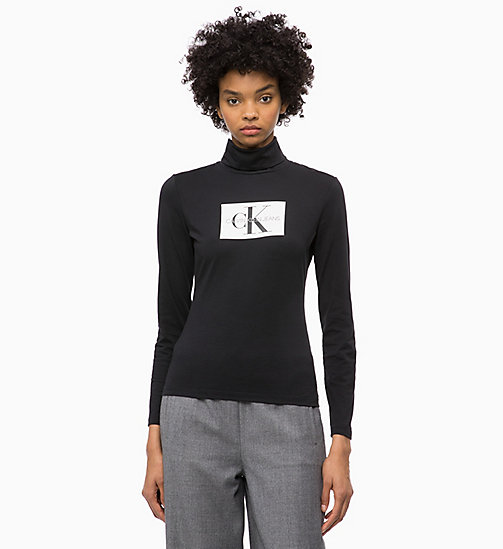 CALVIN KLEIN JEANS Turtleneck Logo Long Sleeve T-shirt - CK BLACK - CALVIN KLEIN JEANS NEW ICONS - main image