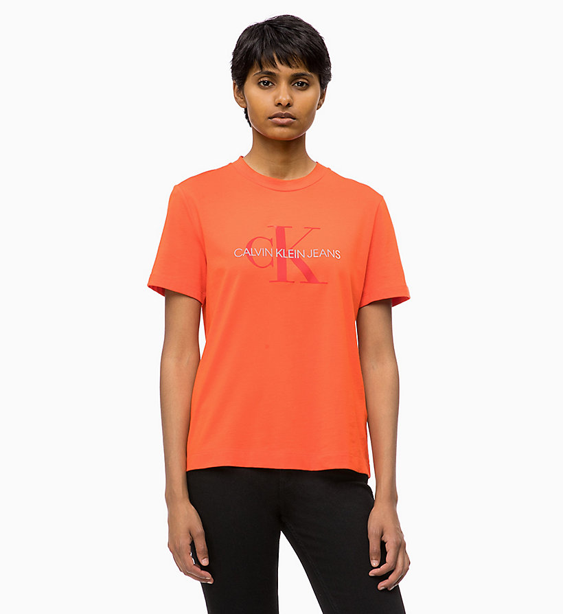 CALVIN KLEIN JEANS Relaxed Logo T-shirt - BRIGHT WHITE / PUMPKIN RED - CALVIN KLEIN JEANS WOMEN - main image