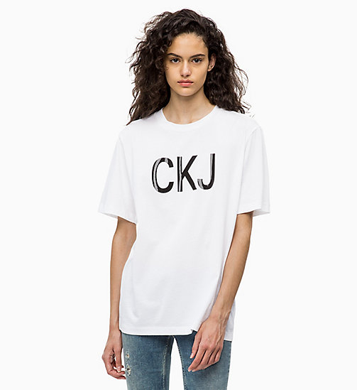 CALVIN KLEIN JEANS Relaxed Vinyl Logo T-shirt - BRIGHT WHITE - CALVIN KLEIN JEANS ALL GIFTS - main image