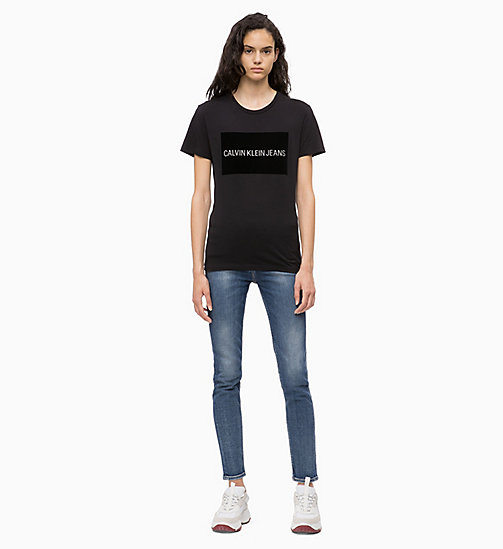 CALVIN KLEIN JEANS Flock Logo T-shirt - CK BLACK - CALVIN KLEIN JEANS ALL GIFTS - detail image 1