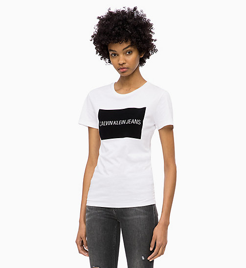 CALVIN KLEIN JEANS Flock Logo T-shirt - BRIGHT WHITE - CALVIN KLEIN JEANS ALL GIFTS - main image