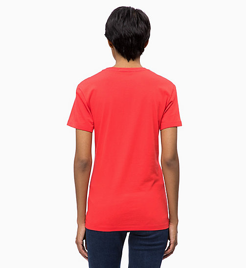 CALVIN KLEIN JEANS Flock Logo T-shirt - TOMATO - CALVIN KLEIN JEANS ALL GIFTS - detail image 1