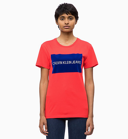 CALVIN KLEIN JEANS Flock Logo T-shirt - TOMATO - CALVIN KLEIN JEANS ALL GIFTS - main image