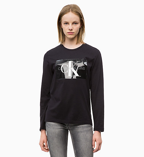 CALVIN KLEIN JEANS Long Sleeve Logo T-shirt - CK BLACK - CALVIN KLEIN JEANS NEW ICONS - main image