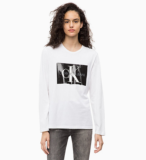CALVIN KLEIN JEANS Long Sleeve Logo T-shirt - BRIGHT WHITE - CALVIN KLEIN JEANS NEW ICONS - main image