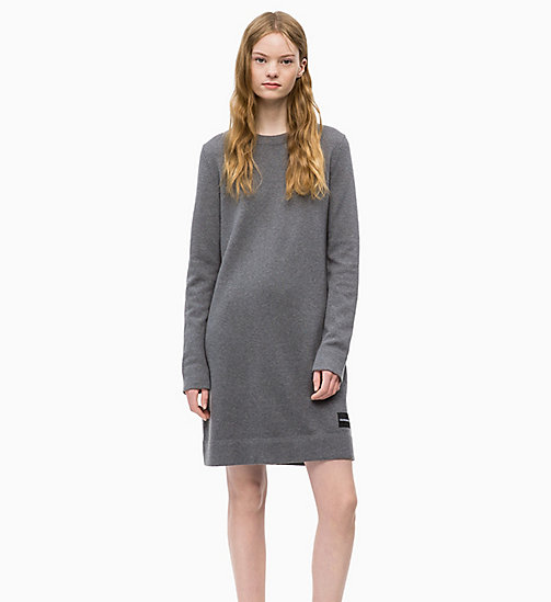 CALVIN KLEIN JEANS Cotton Wool Sweater Dress - MID GREY HEATHER - CALVIN KLEIN JEANS FALL DREAMS - main image