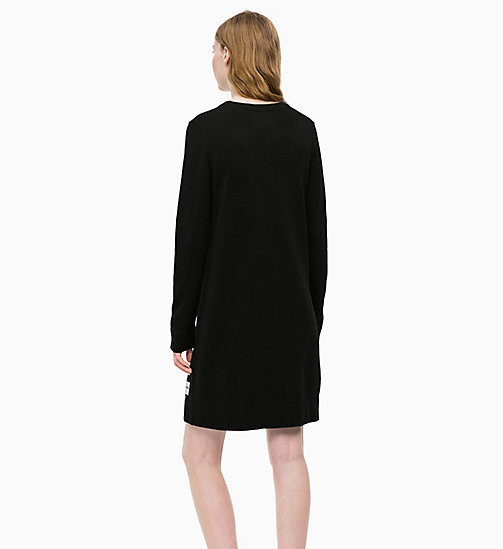 CALVIN KLEIN JEANS Cotton Wool Sweater Dress - CK BLACK - CALVIN KLEIN JEANS DRESSES - detail image 1