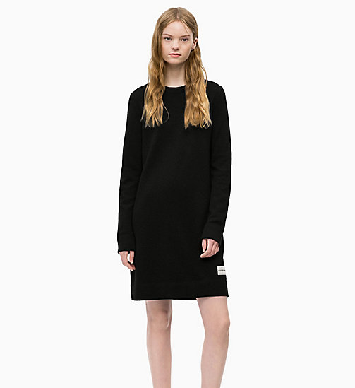 CALVIN KLEIN JEANS Cotton Wool Sweater Dress - CK BLACK - CALVIN KLEIN JEANS DRESSES - main image