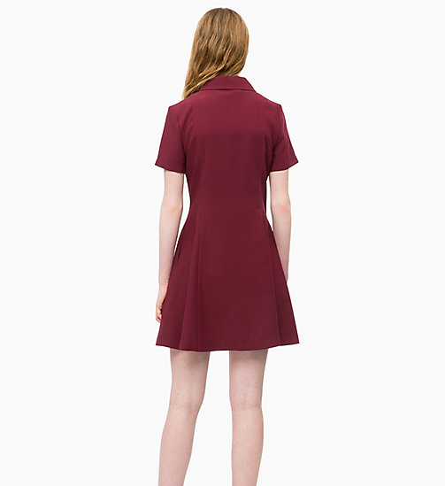 CALVIN KLEIN JEANS Flared Zip Neck Dress - TAWNY PORT - CALVIN KLEIN JEANS NEW IN - detail image 1