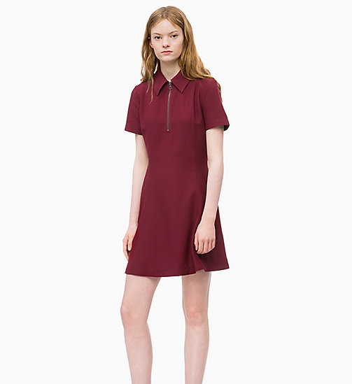 CALVIN KLEIN JEANS Flared Zip Neck Dress - TAWNY PORT - CALVIN KLEIN JEANS NEW IN - main image