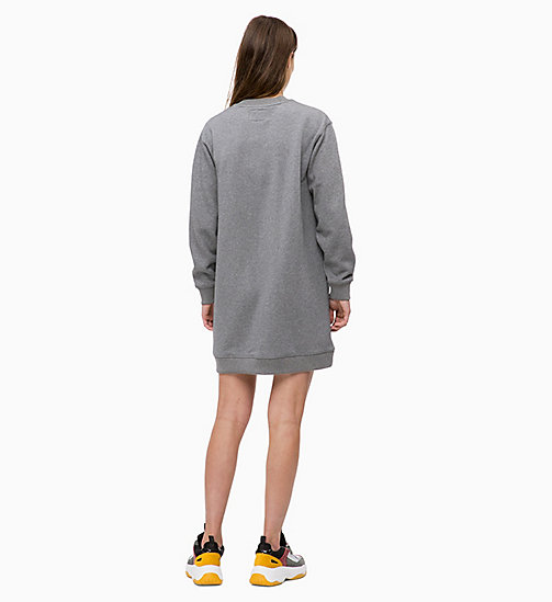 CALVIN KLEIN JEANS Robe sweat-shirt avec logo - MID GREY HEATHER - CALVIN KLEIN JEANS The New Off-Duty - image détaillée 1